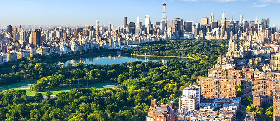 Aerial View of New York City and Central Park