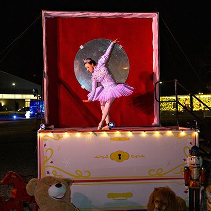 Ballerina dancing for Amazon Holiday Drive Thru